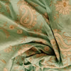 Buy Green Raw Silk Embroidered Fabric