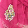 Buy Pink Net Embroidered Fabric