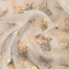 Buy Powder Green Organza Embroidered Fabric