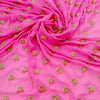 Buy Pink Chiffon Embroidered Fabric