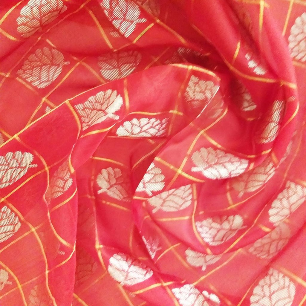 Buy Red Uppada Silk Fabric Online