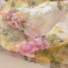 Buy White Organza Printed Fabric
