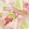 Buy Peach Raw Silk Printed Fabric