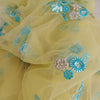 Buy Yellow Net Embroidery Fabric