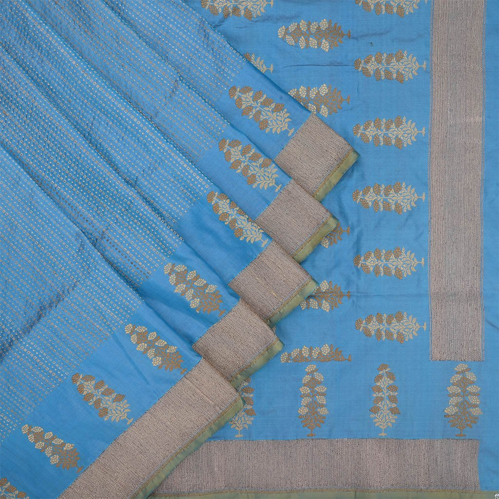 Buy Deep Sky Blue Banarasi Silk Handloom Saree