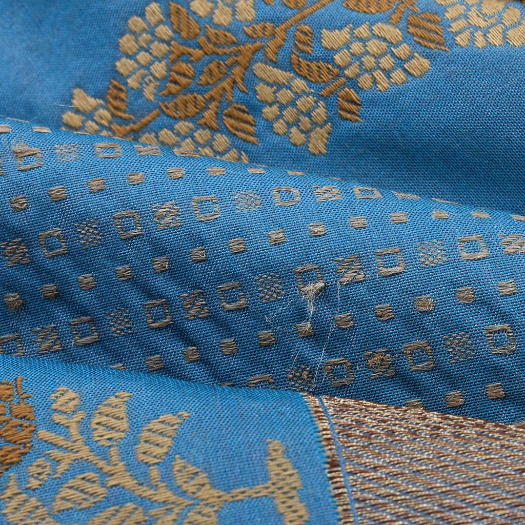SALEK9-Deep Sky Blue Banarasi Silk Handloom Saree