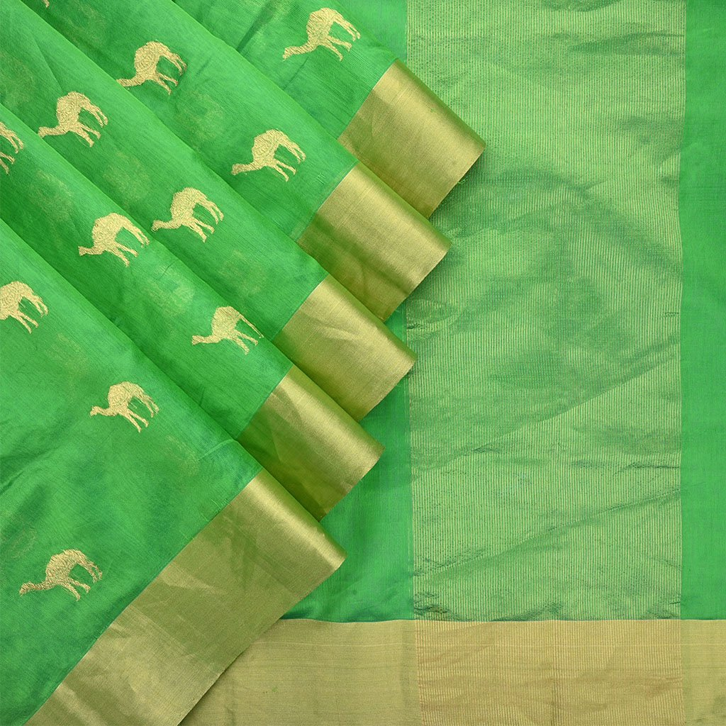 Buy Shamrock Green Handloom Pranpur Saree.
