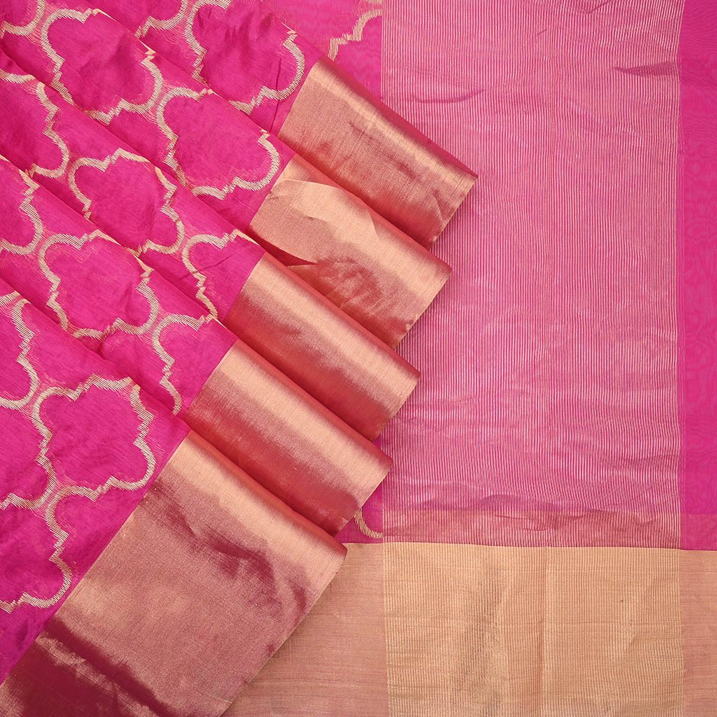 Buy Hot Pink Handloom Pranpur Saree.