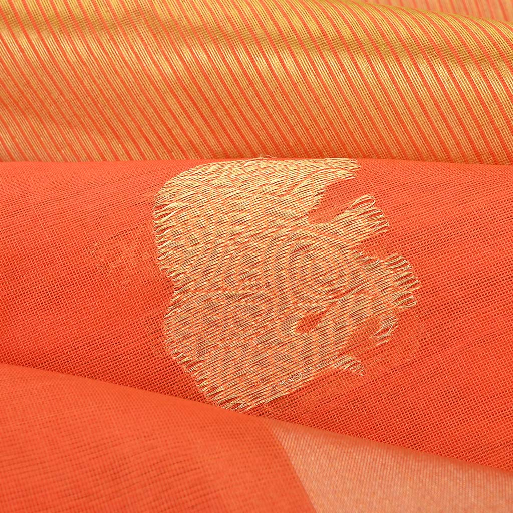 SALEPR65-Tiger Orange Handloom Pranpur Saree.