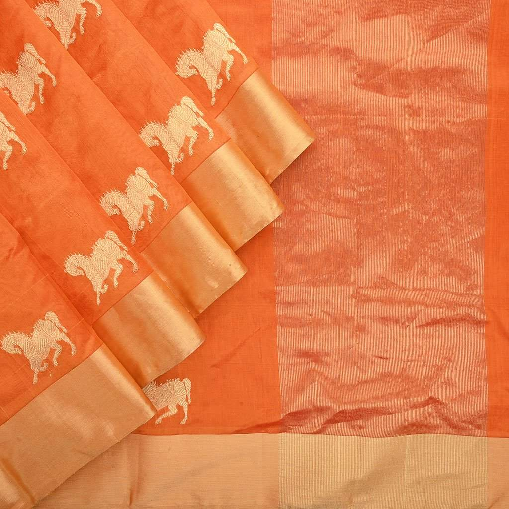 Buy Apricot Orange Handloom Pranpur Saree.