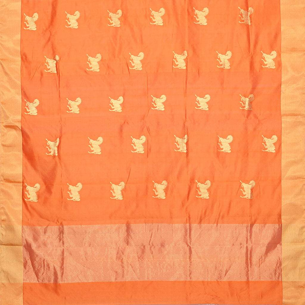 SALEPR72-Apricot Orange Handloom Pranpur Saree.