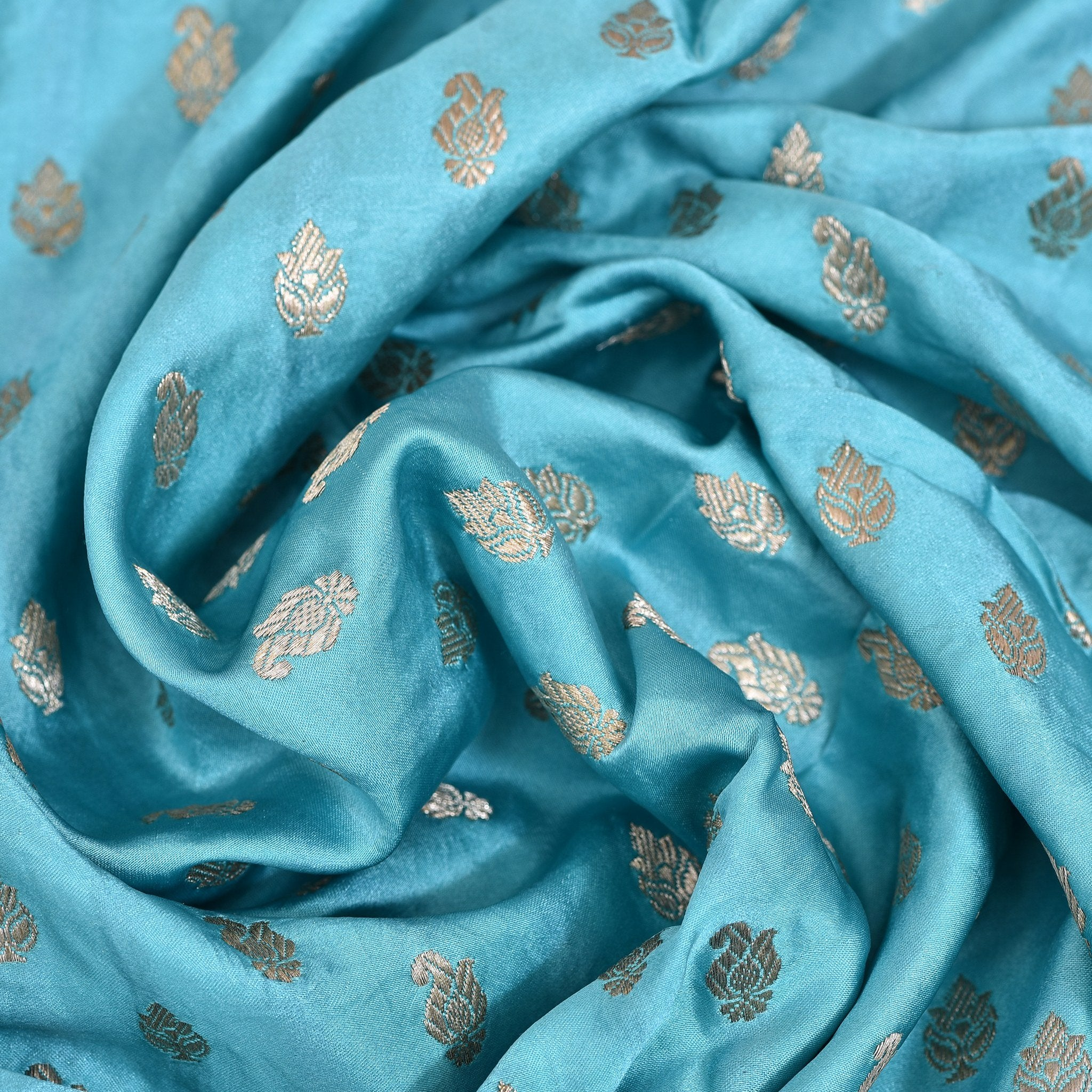 Cyan-Blue-Banarasi-Silk-Blouse-Fabric