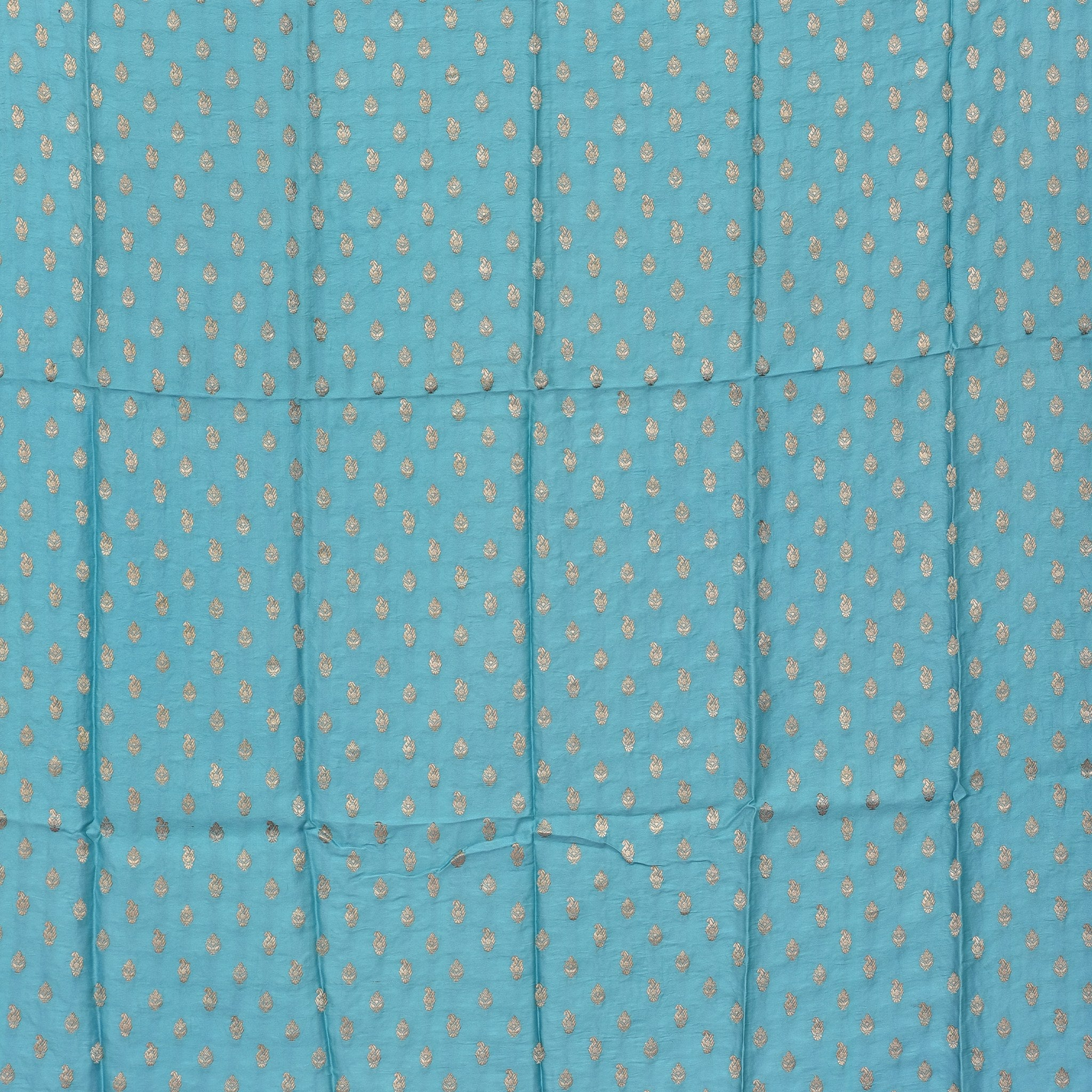 SBF501-Cyan Blue Banarasi Silk Blouse Fabric-80CM