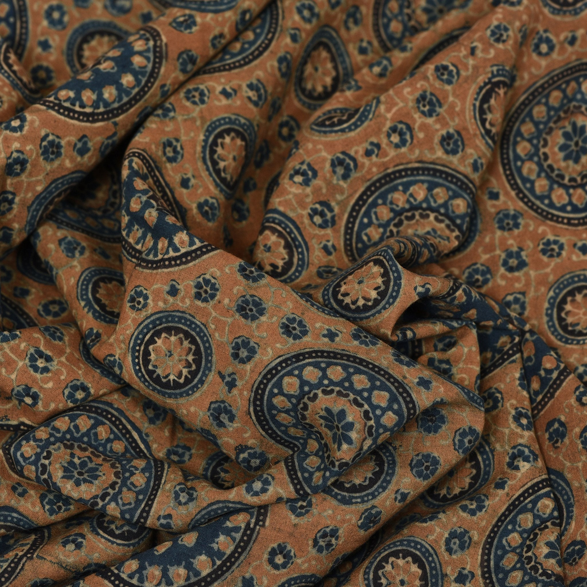 Ochre-Yellow-Ajrakh-Printed-Cotton-Blouse-Fabric