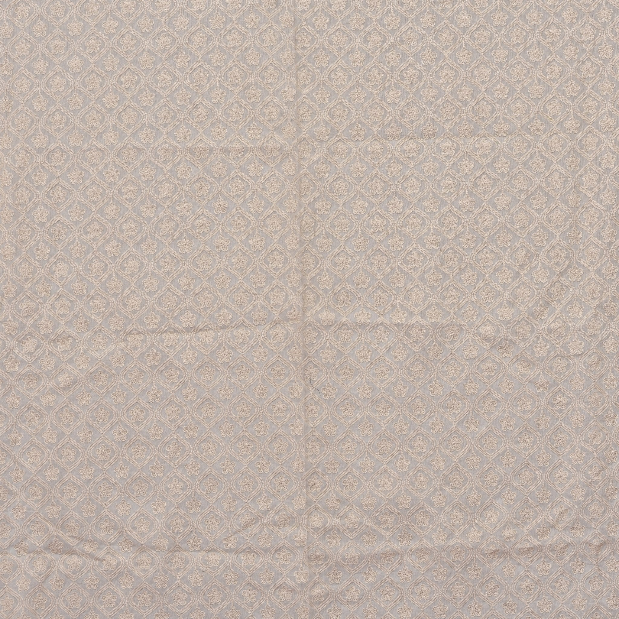 SBF561-Ivory White Embroidered Cotton Blouse Fabric-1MTR