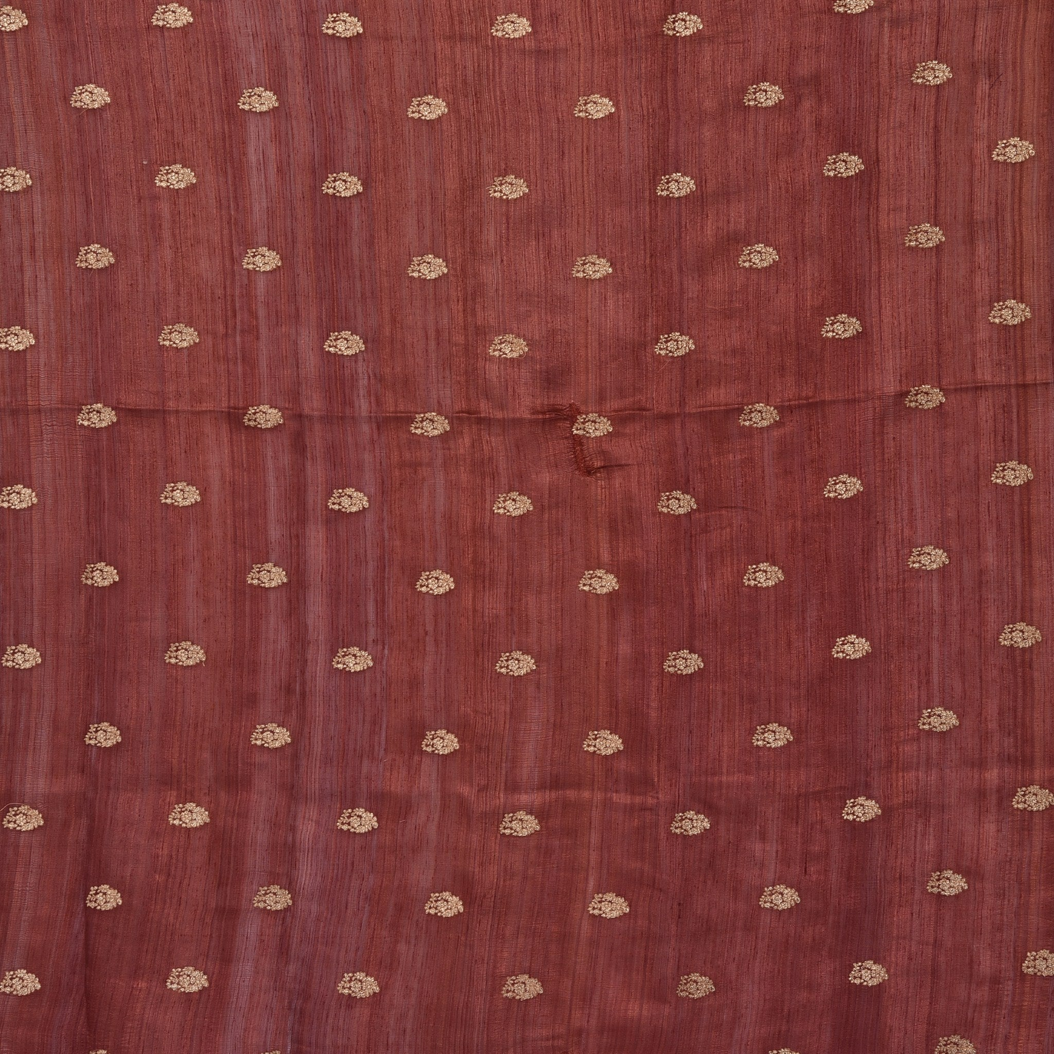SBF563-Cinnamon Brown Tussar Embroidered Blouse Fabric-90CM
