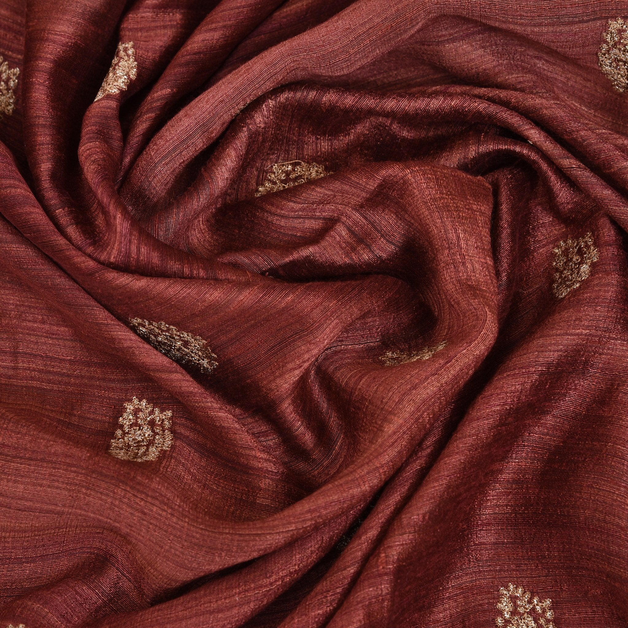 Cinnamon-Brown-Tussar-Embroidered-Blouse-Fabric