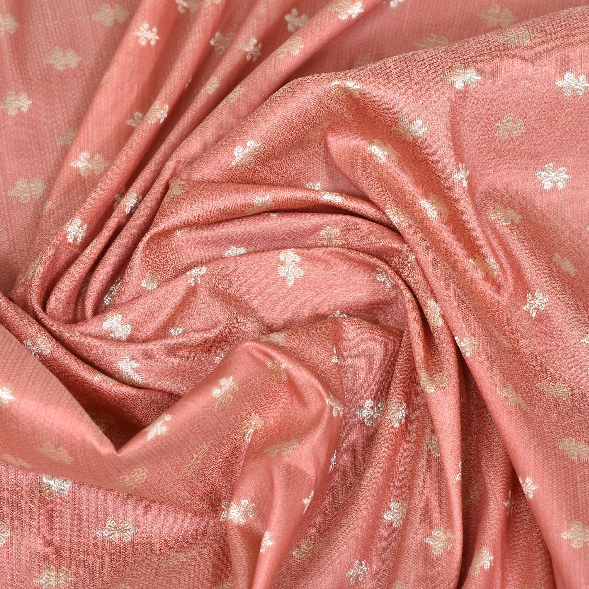 Flamingo-Pink-Jamawar-Blouse-Fabric