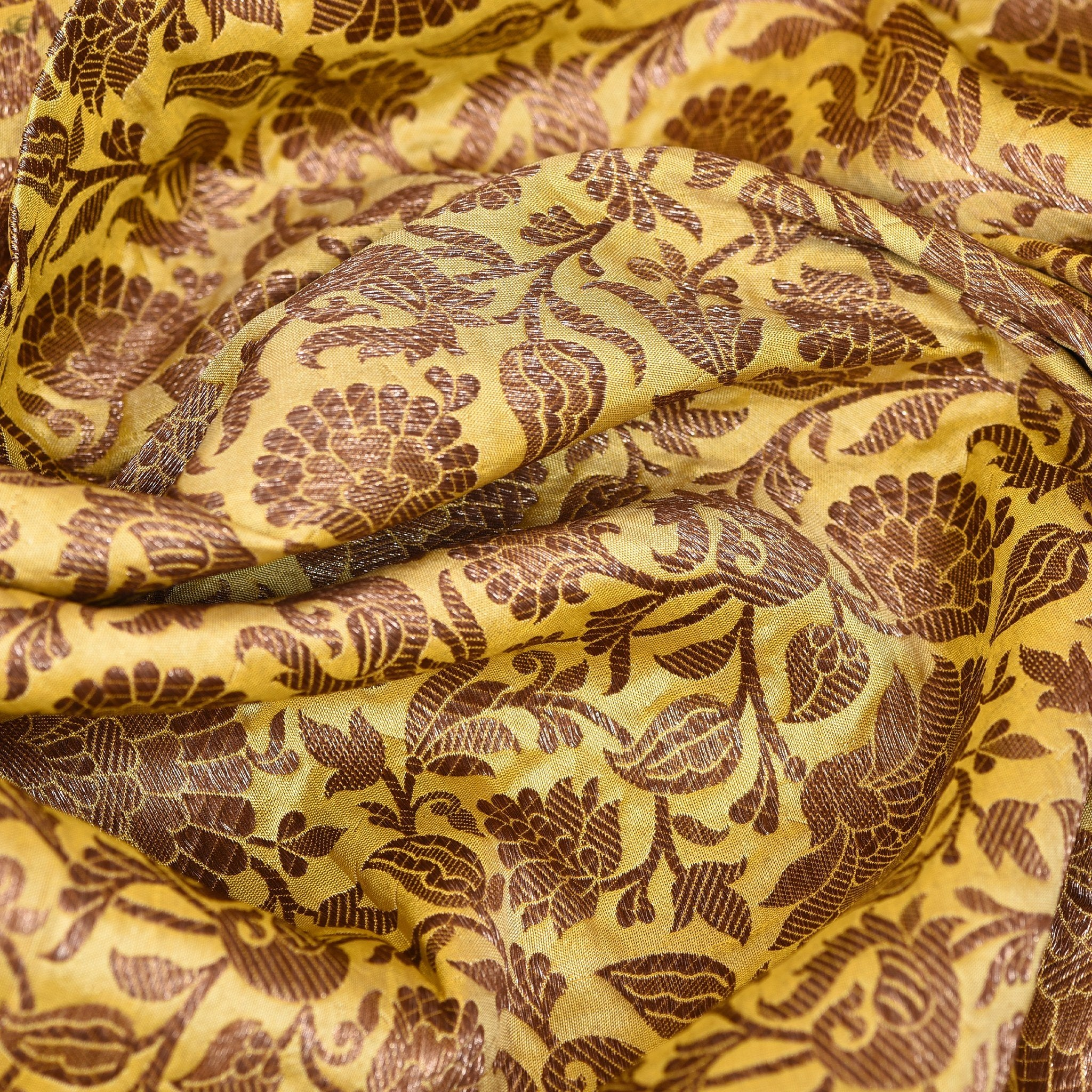 Dandelion-Yellow-Banarasi-Brocade-Blouse-Fabric