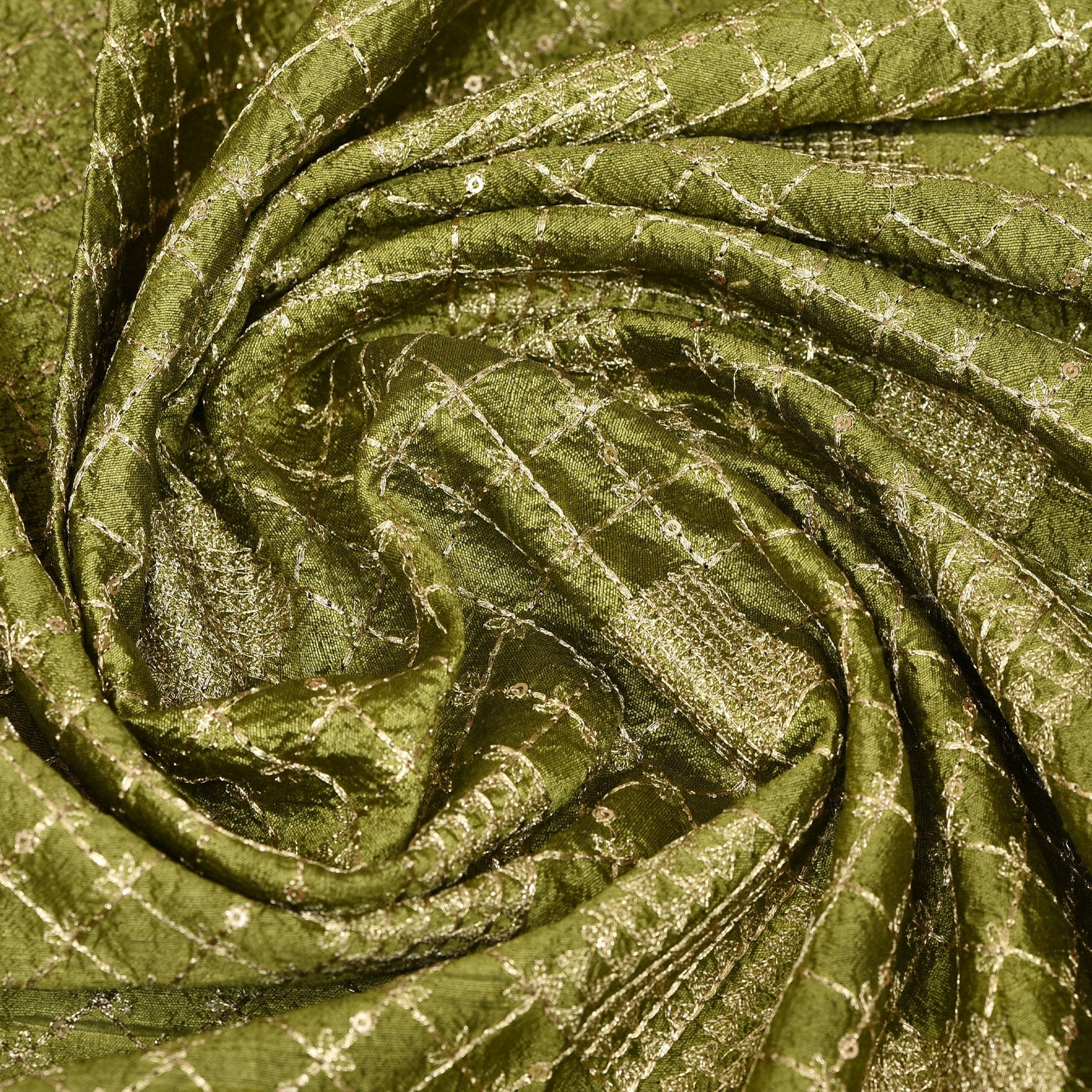 Mehendi-Green-Raw-Silk-Embroidered-Blouse-Fabric