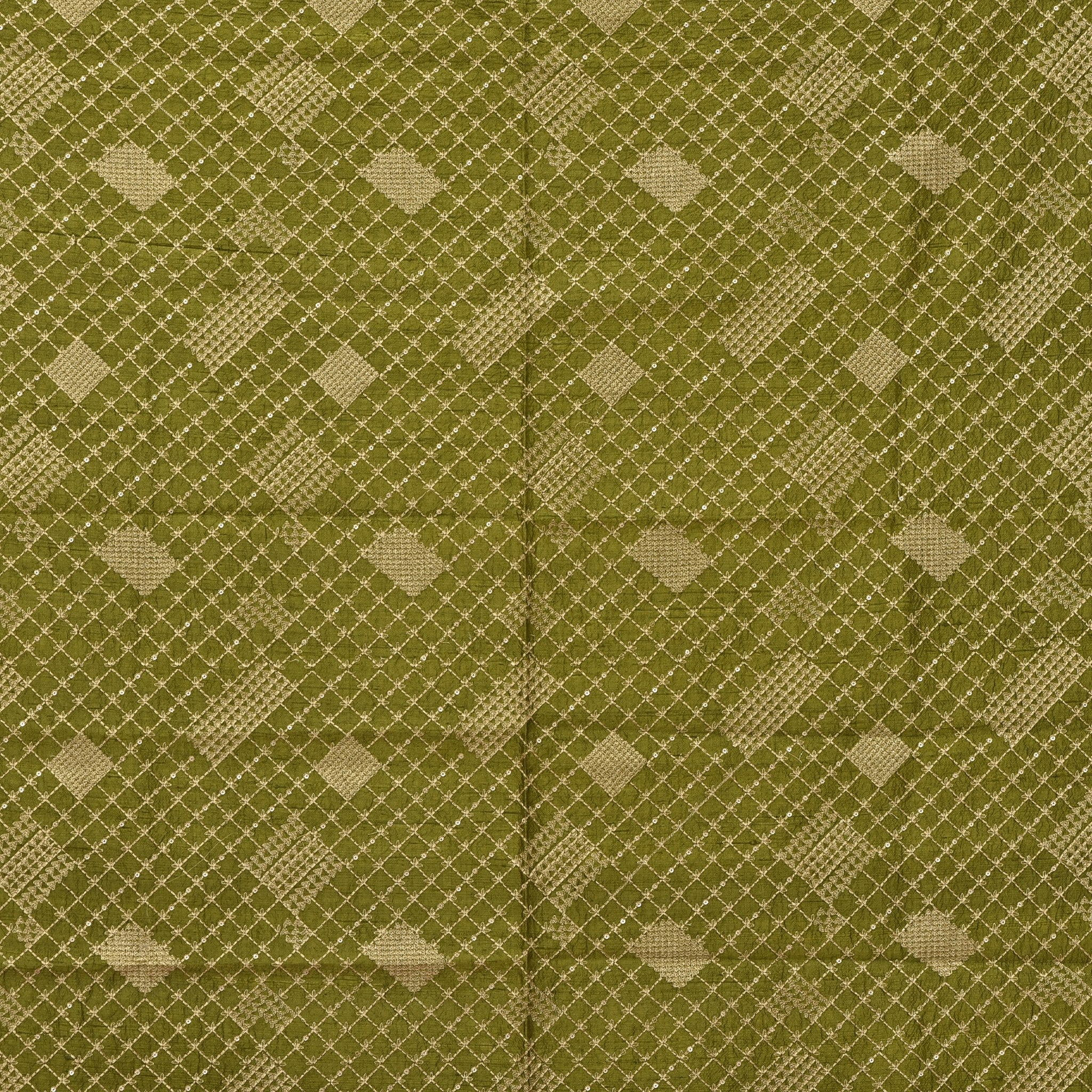 SBF613-Mehendi Green Raw Silk Embroidered Blouse Fabric-90CM