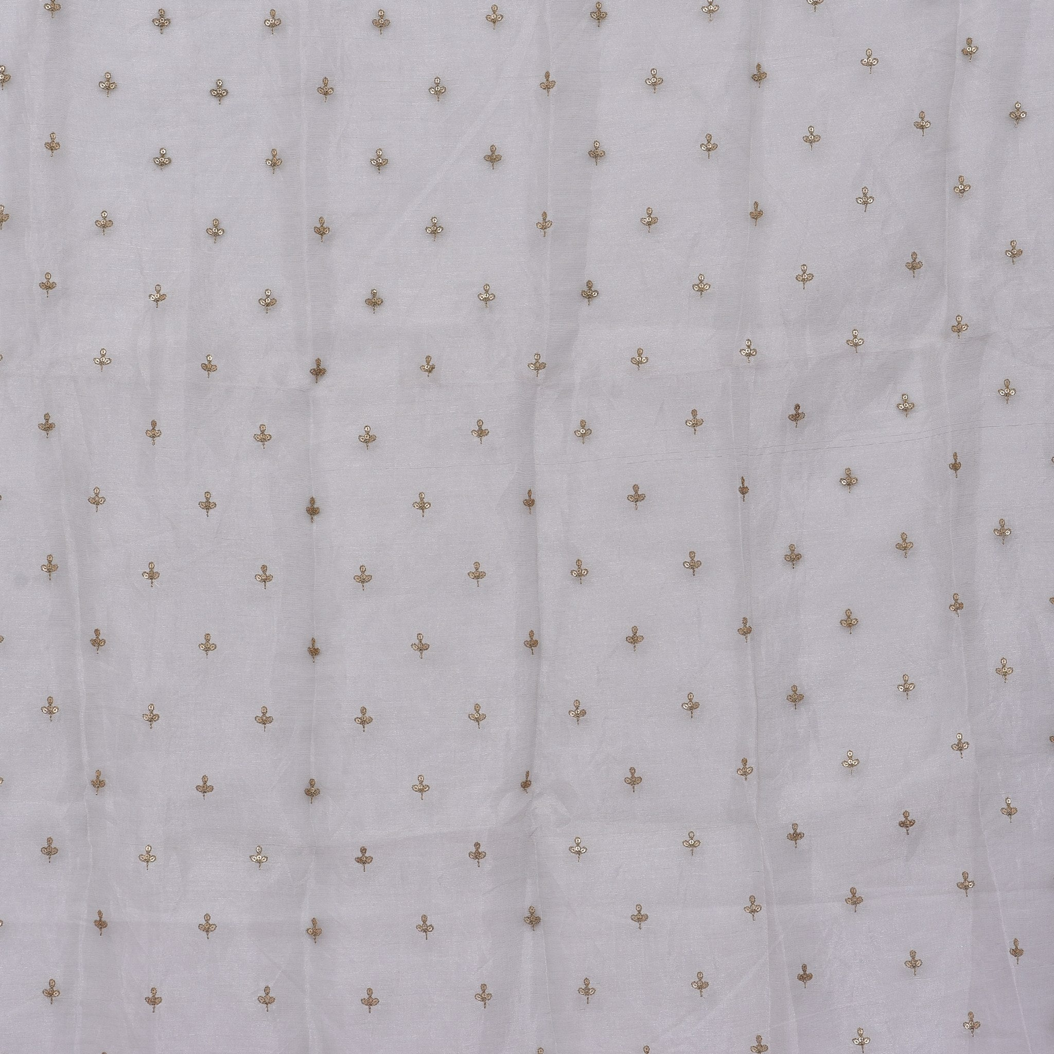SBF614-Silver Tissue Embroidered Blouse Fabric-80CM