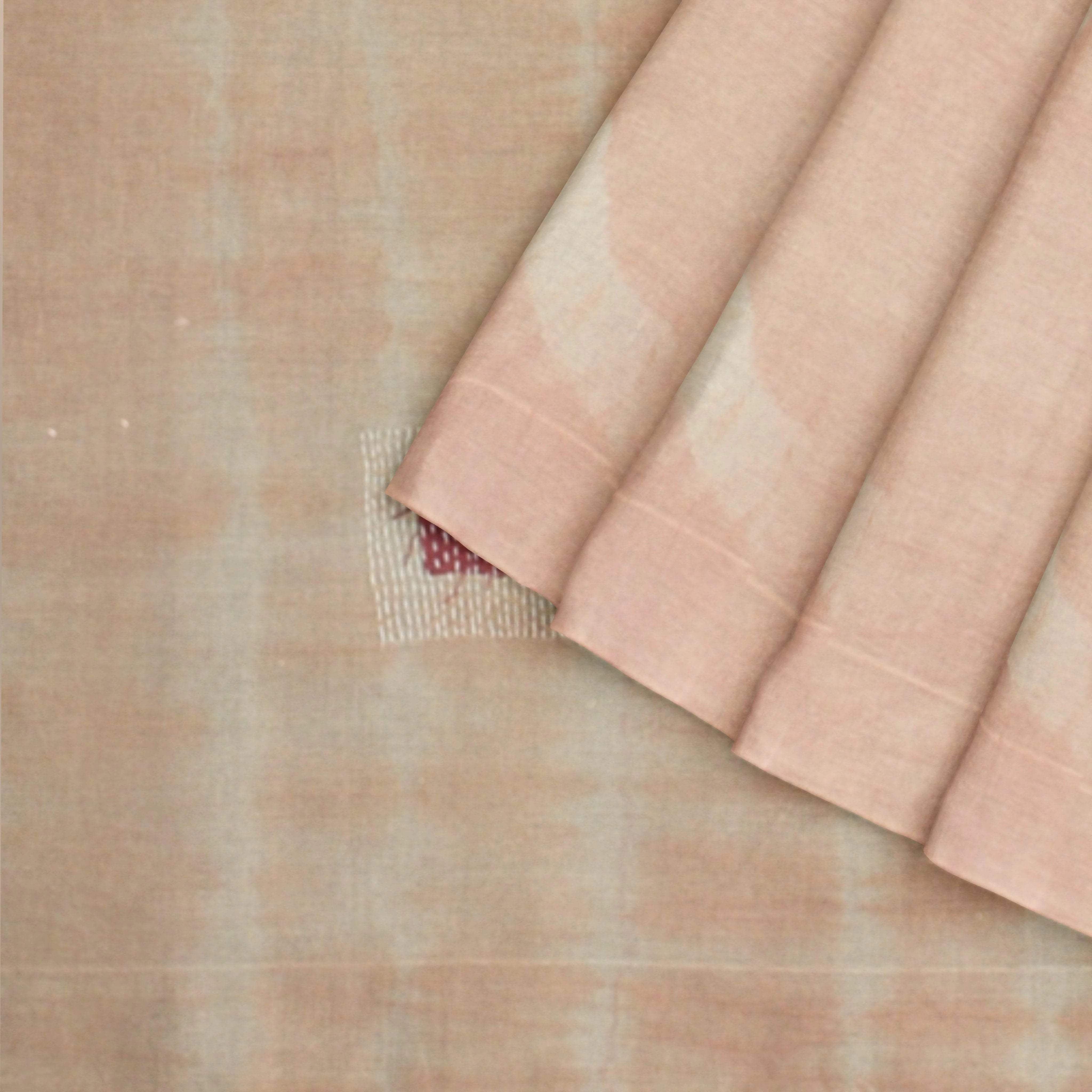 Handloom-Tie-dye-Cotton-Saree-with-Gantha-Embroidery-in-Mellow-Peach