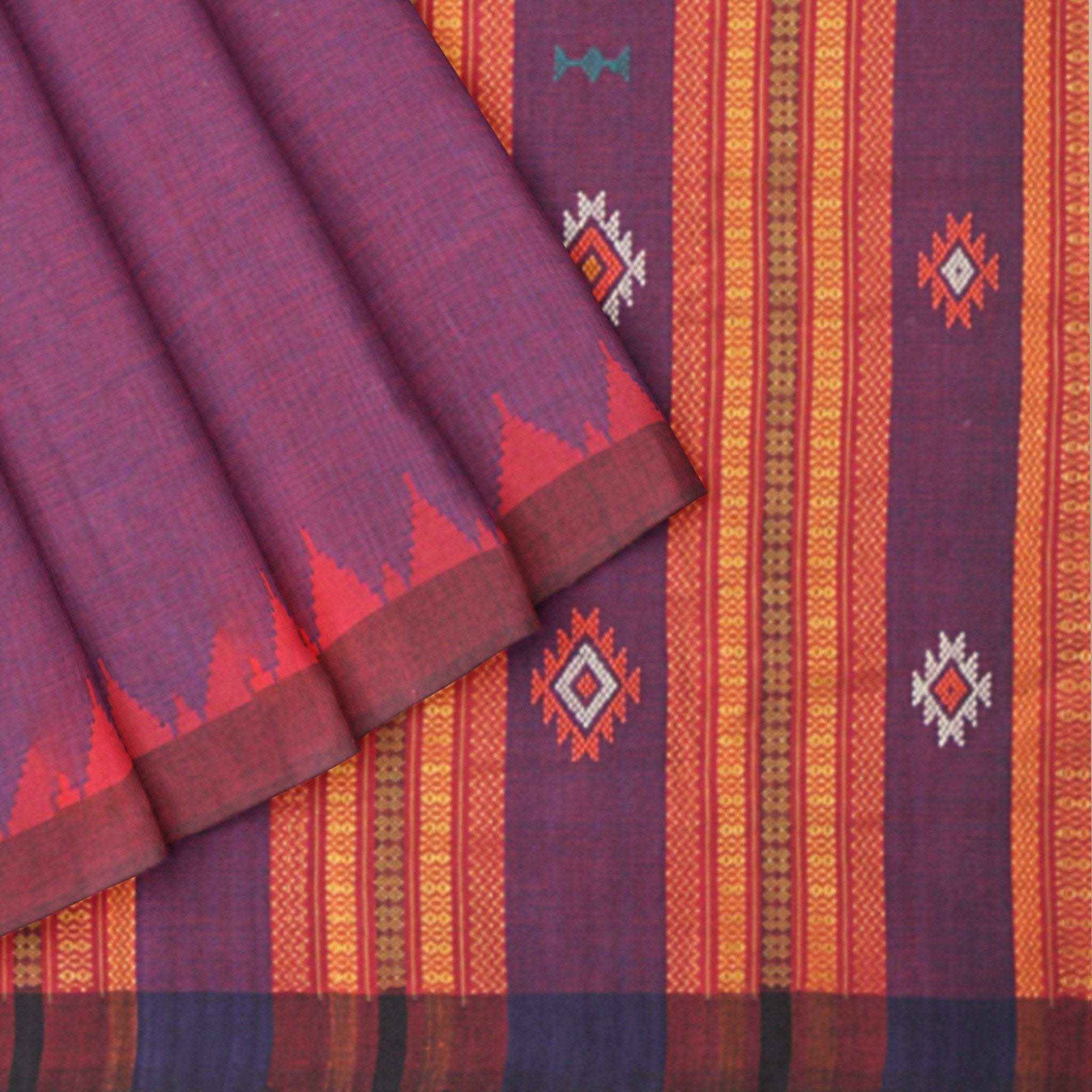Mulberry-Purple-Handloom-Cotton-Silk-Saree