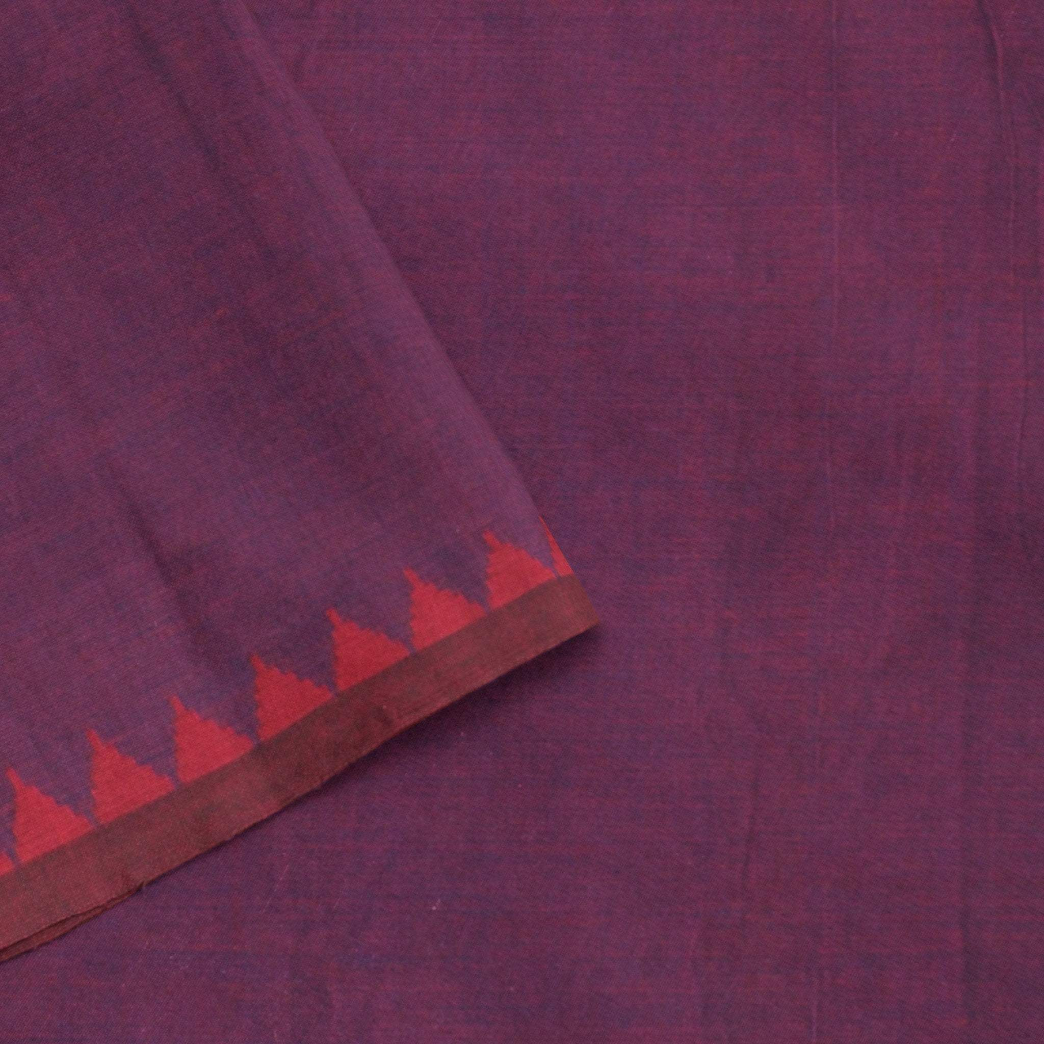 BB100037-Mulberry Purple Handloom Cotton Silk Saree