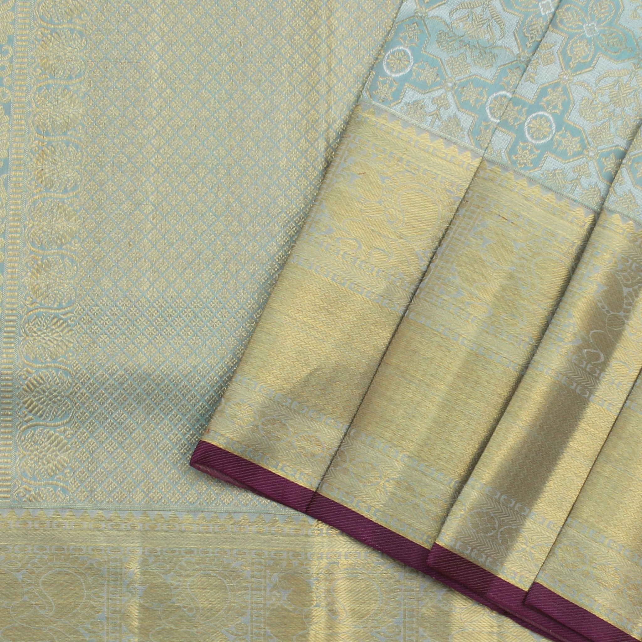BB096298-Ice Blue Kanjivaram Silk Handloom Saree With Jaal Design