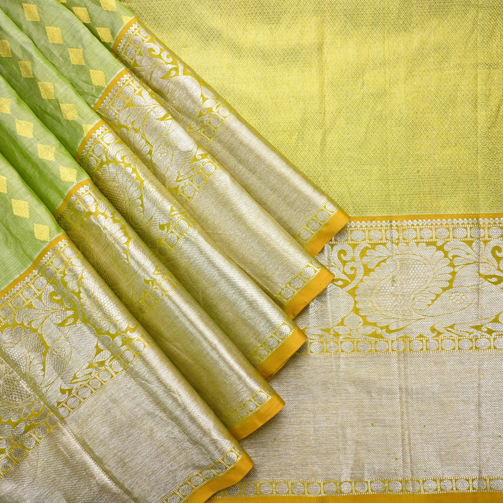 Olive Green Venkatagiri Silk Handloom Saree