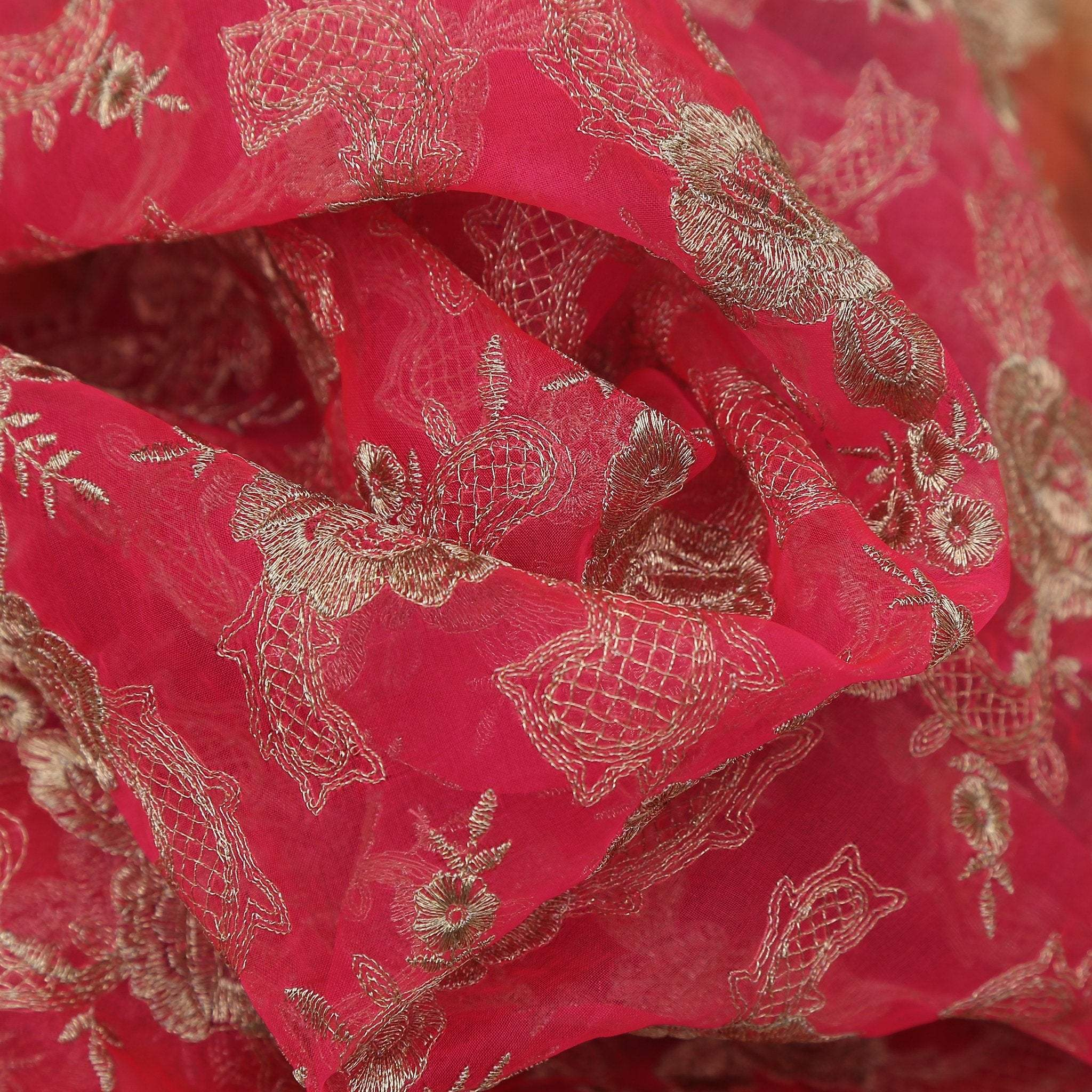 buy Fire Yellow Rani Pink Ombre Dyed Organza Fabric Online