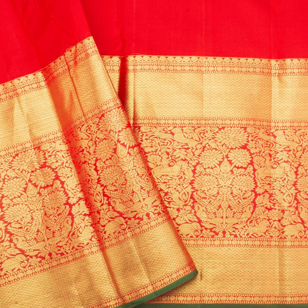 Scarlet Red Kanjivaram Silk Handloom Saree With Floral Jaal-244087 - Singhania's