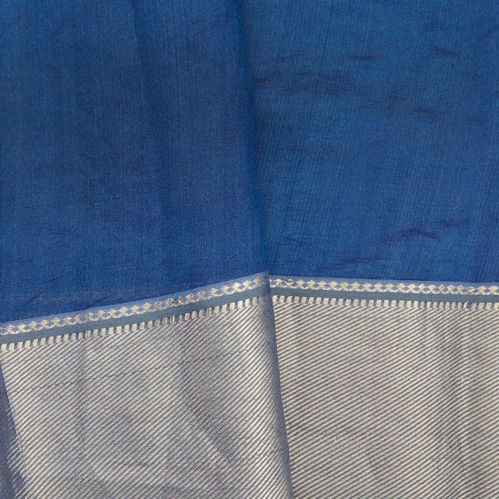 Royal Blue Chanderi Silk Embroidery Saree With Floral Motifs-225828 - Singhania's