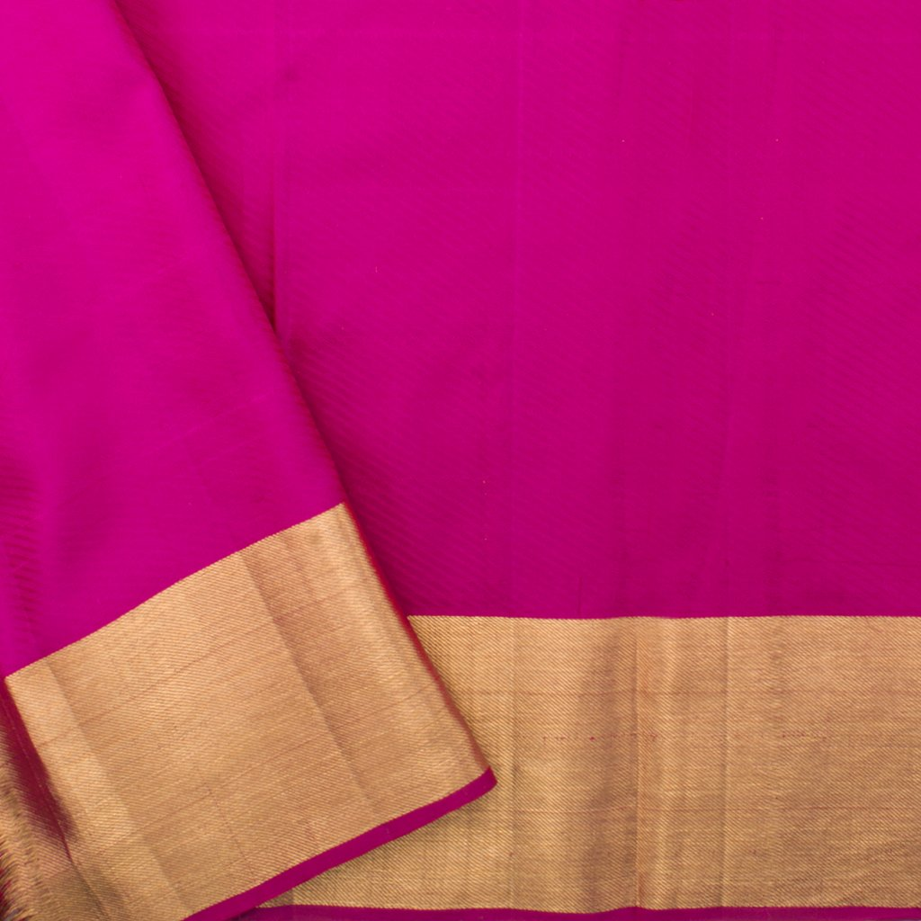 Dual Toned Orange And Pink Kanjivaram Silk Handloom Saree
