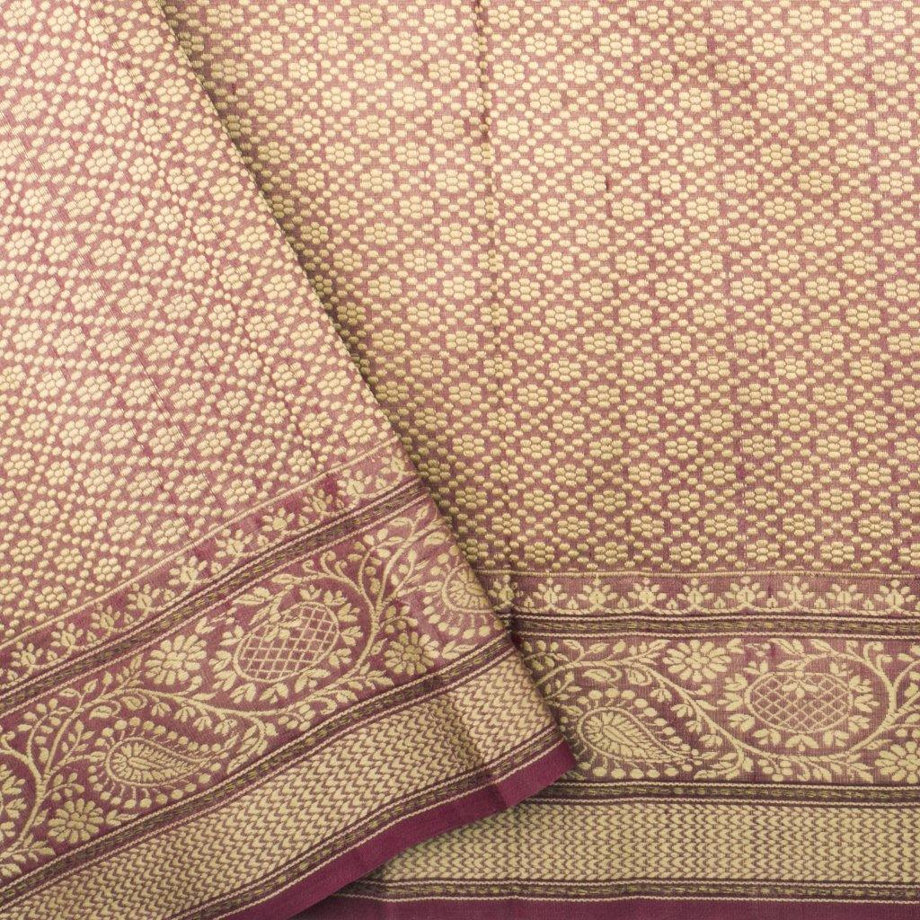 Berry Pink Banarasi Tussar Handloom Saree With Floral Buttas-229615 - Singhania's
