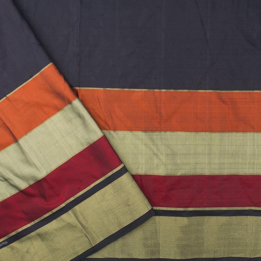 Navy Blue Ikkat Silk Handloom Saree-242455 - Singhania's