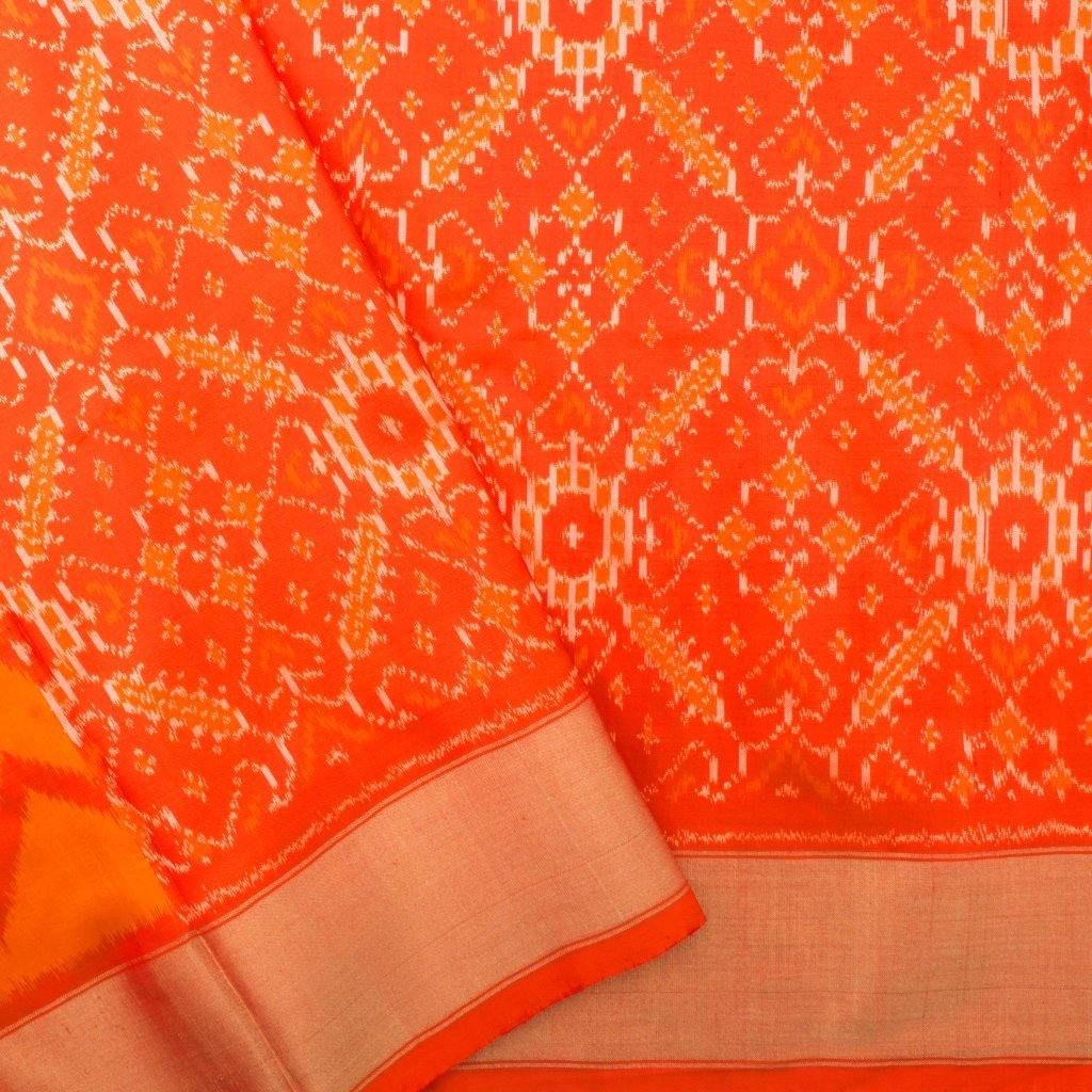 Fiery Yellow Ikkat Silk Handloom Saree-242476 - Singhania's