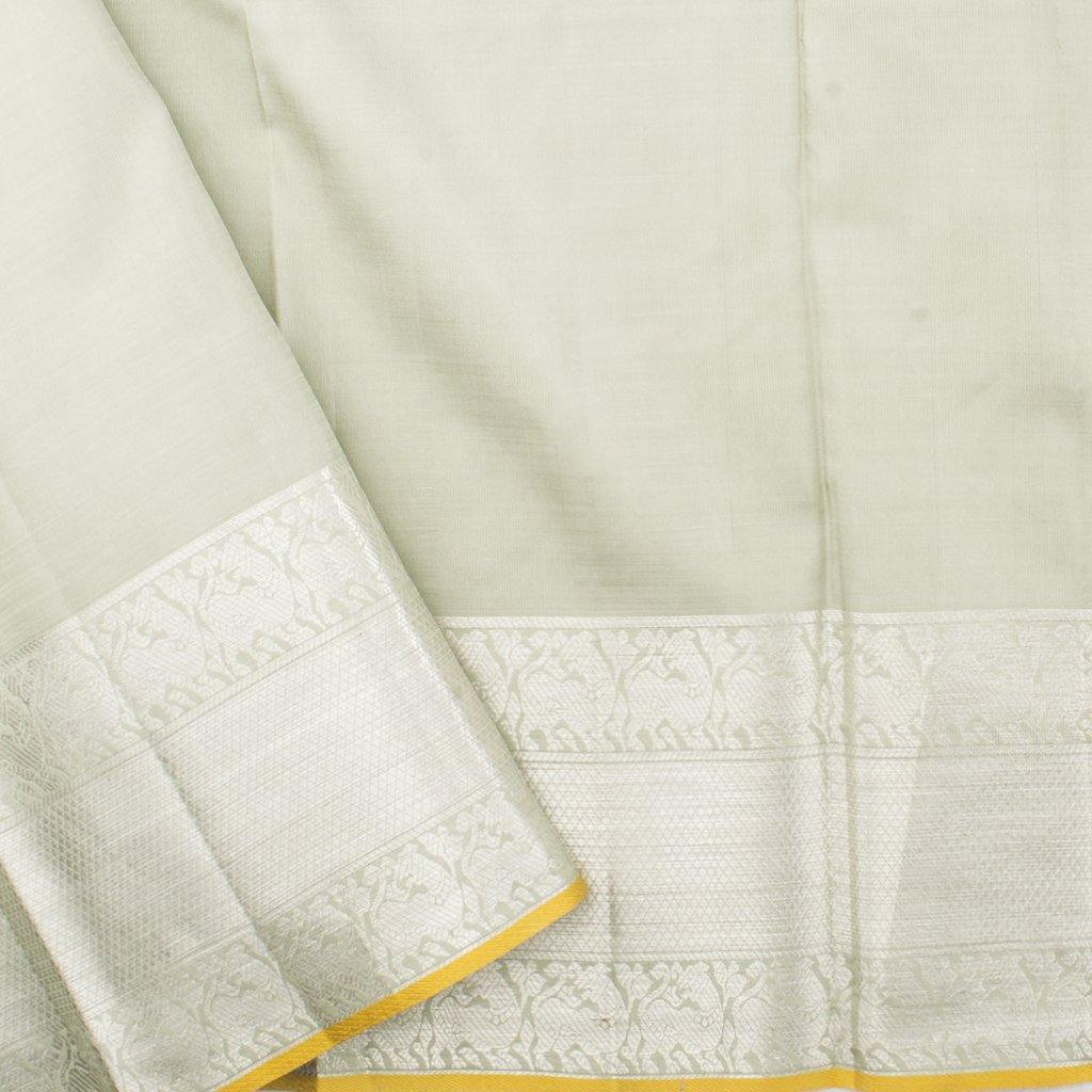 Soft Grey Kanjivaram Silk Handloom Saree With Floral Buttas-243271 - Singhania's