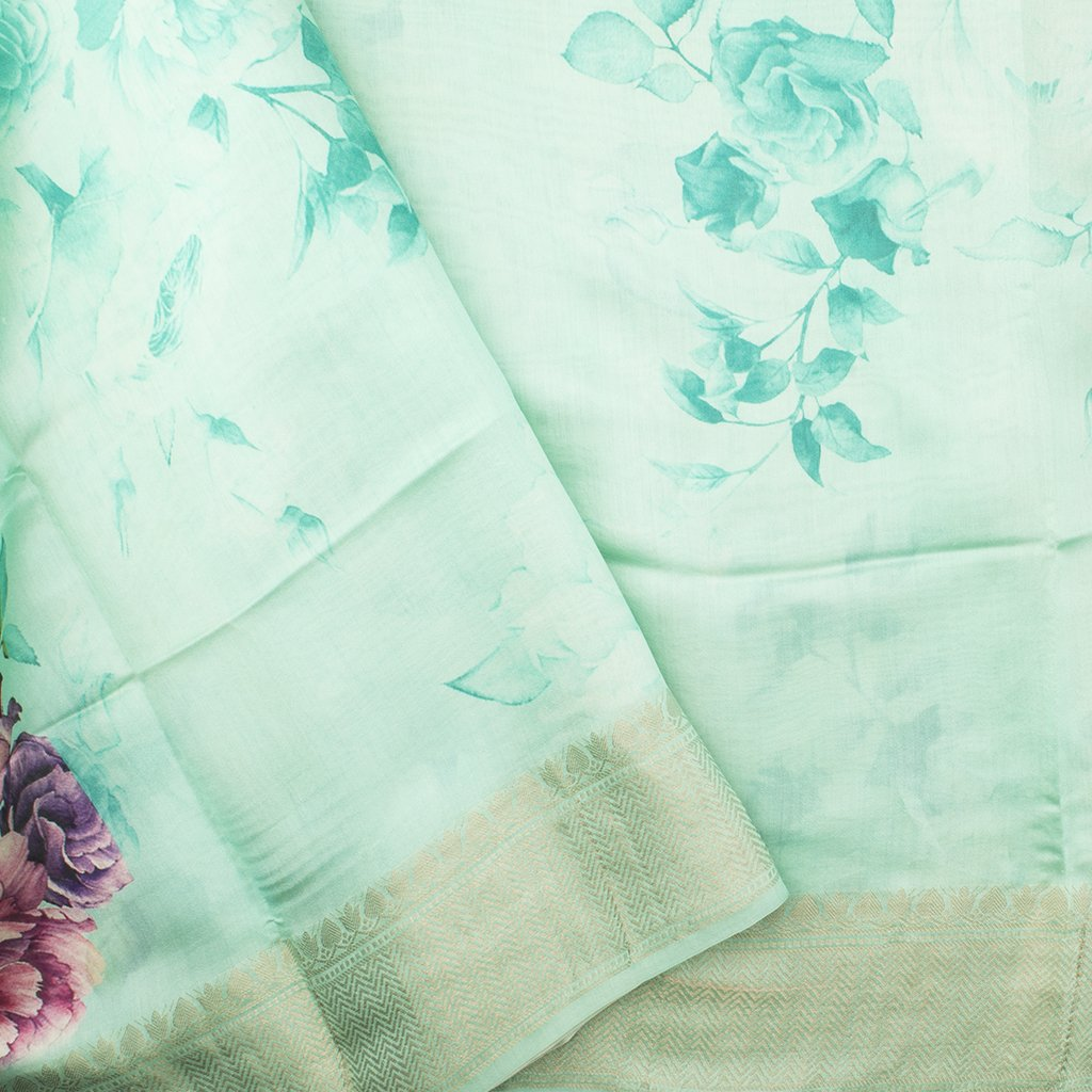 Sea Blue Printed Silk Handloom Saree