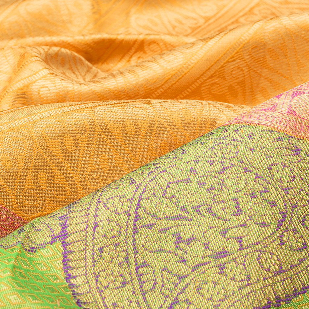 Fiery Yellow Kanjivaram Silk Handloom Saree