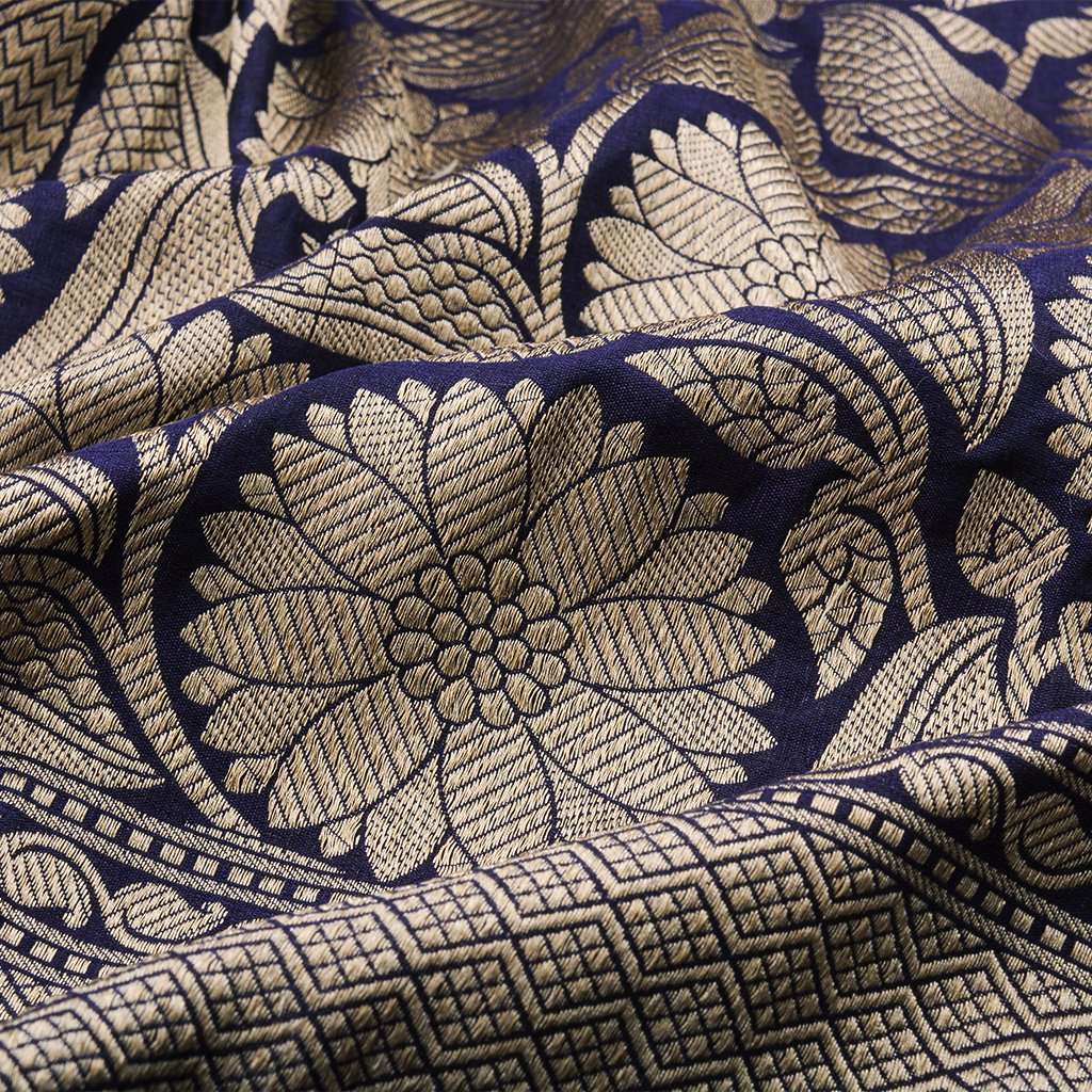 Midnight Blue Banarasi Silk Handloom Saree