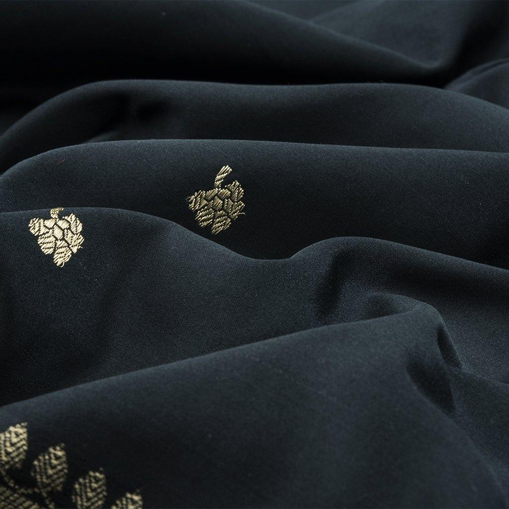 Black Banarasi Silk Handloom Saree With Floral Buttas-229315 - Singhania's