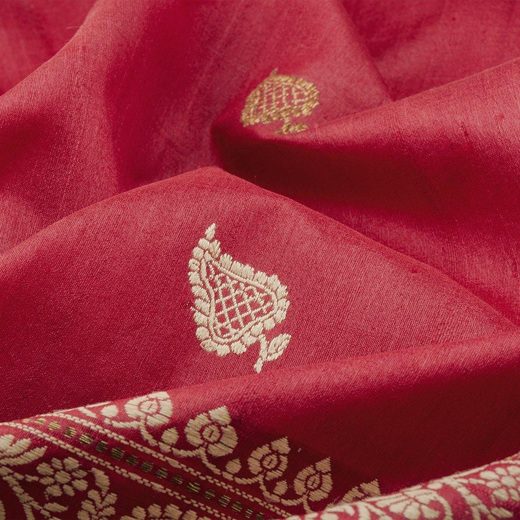 Ruby Red Banarasi Tussar Handloom Saree With Floral Buttas-229629 - Singhania's