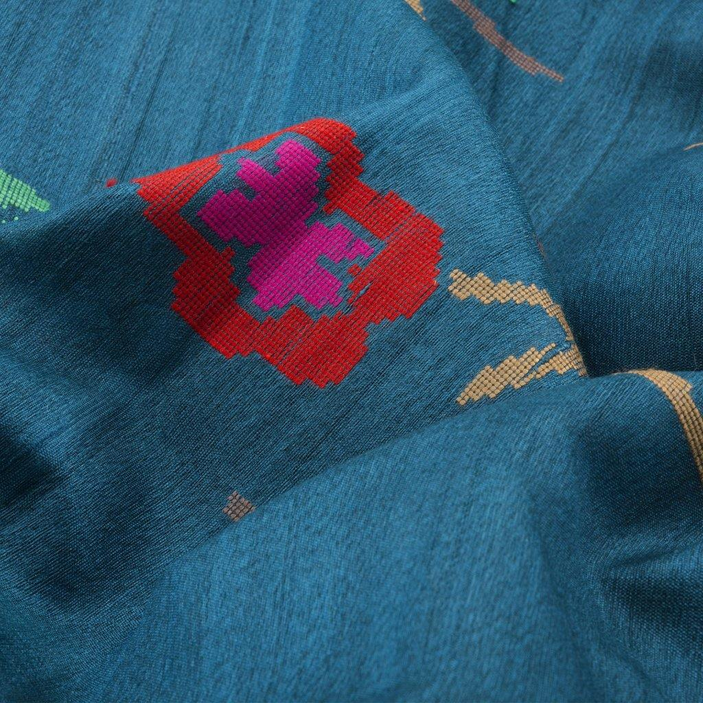 Persian Blue Banarasi Tussar Handloom Saree With Floral Jaal-229650 - Singhania's