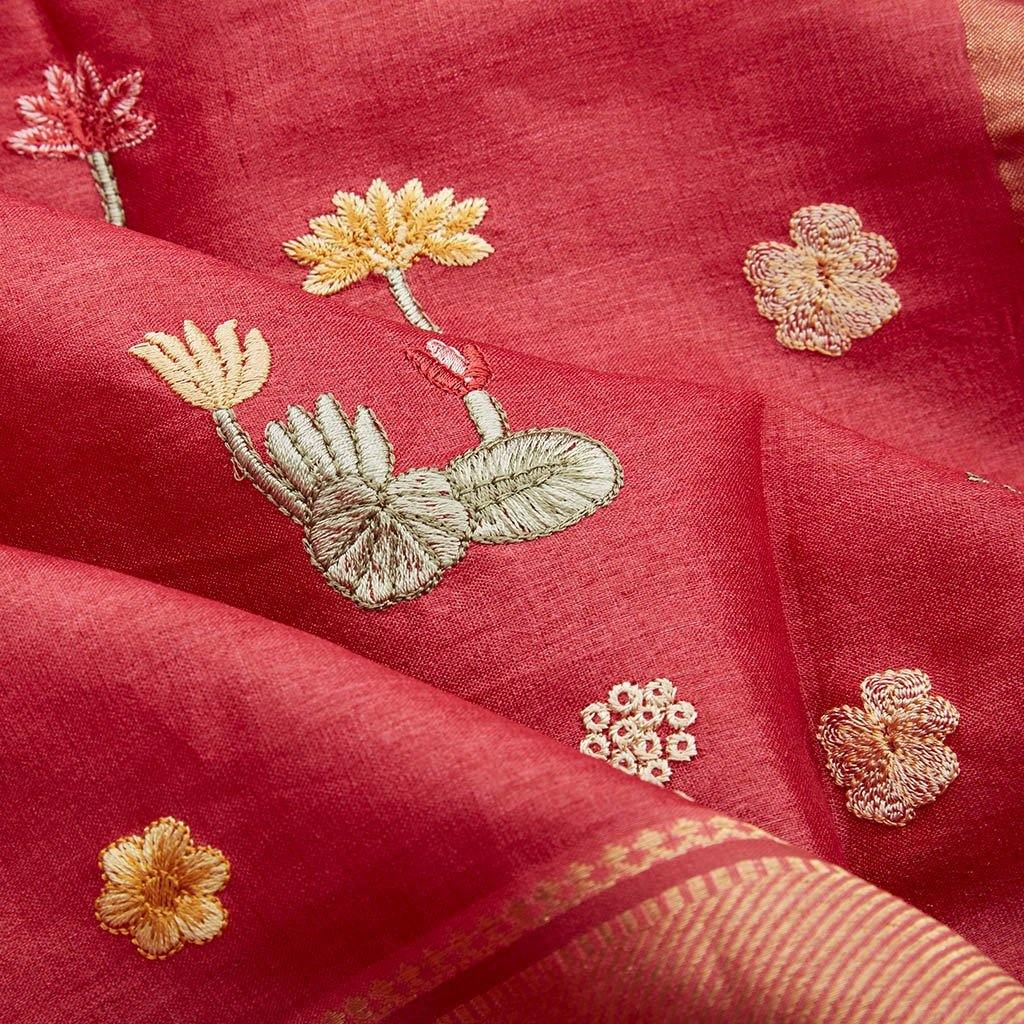 Apple Red Tussar Silk Embroidery Saree With Floral Buttas-226157 - Singhania's