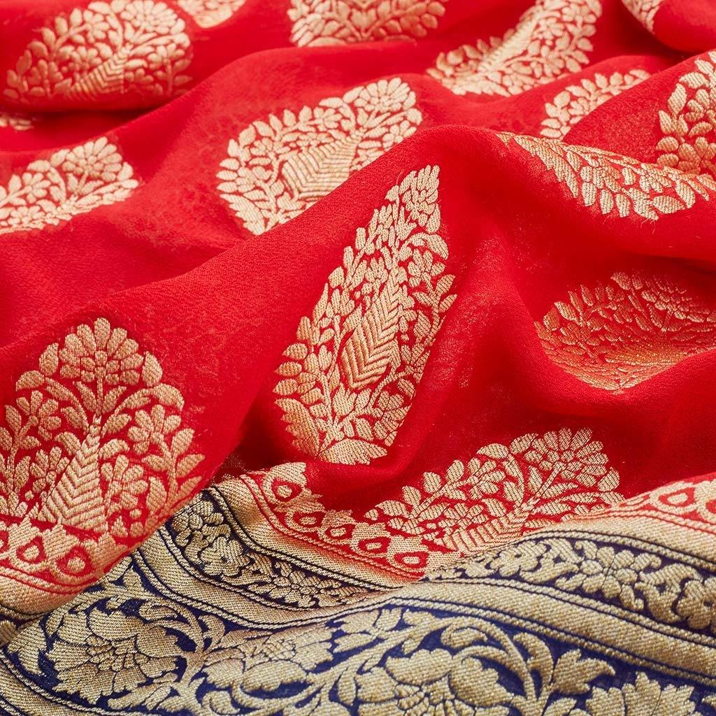 Tomato Red Banarasi Georgette Saree