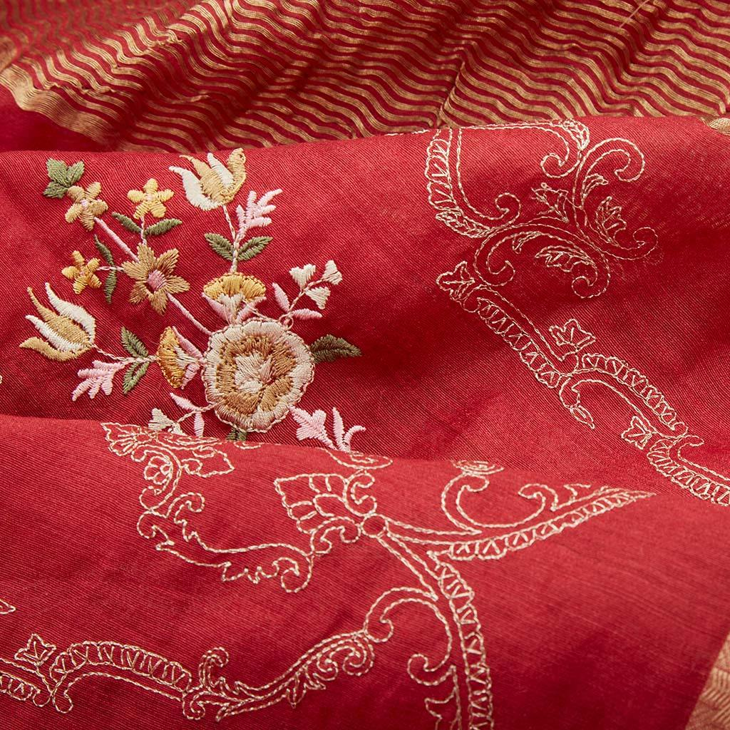 Cherry Red Tussar Silk Embroidery Saree With Floral Jaal-226151 - Singhania's