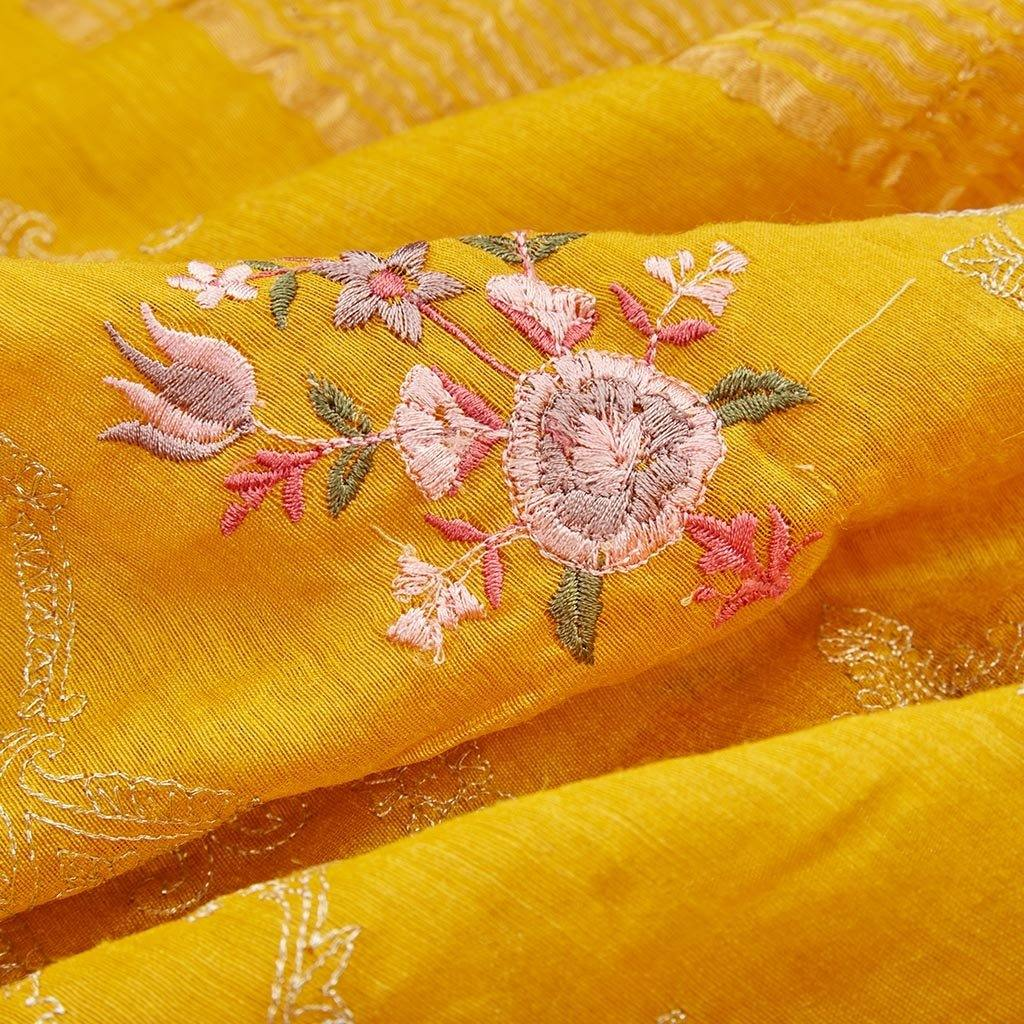 Turmeric Yellow Tussar Silk Embroidery Saree With Floral Jaal-225891 - Singhania's