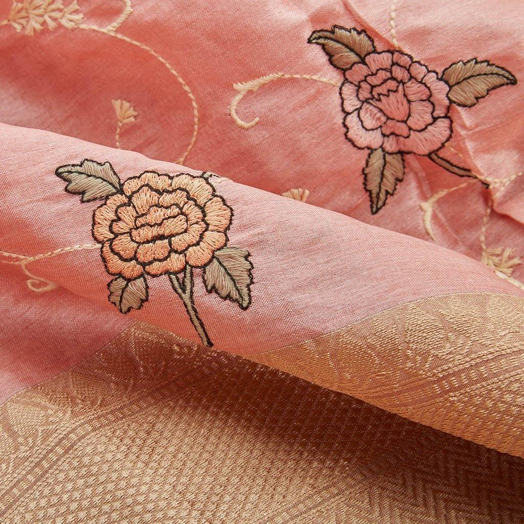 Flamingo Pink Silk Embroidery Saree With Floral Motifs-226078 - Singhania's